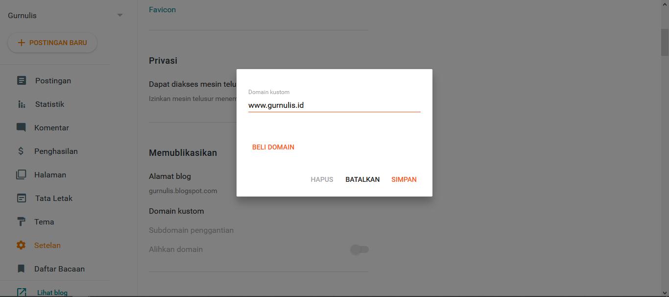 Berbagi Cara Gurnulis Pindah Domain, gurnulis.id