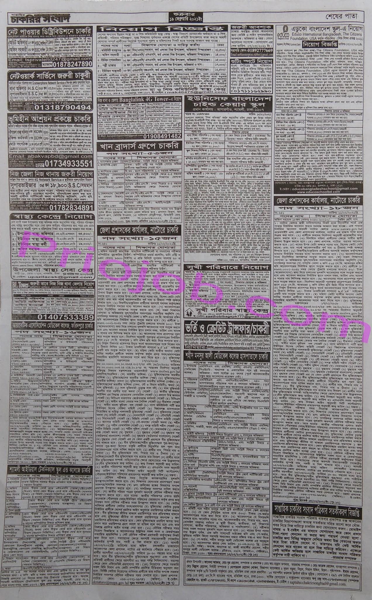 সাপ্তাহিক চাকরির সংবাদ পত্রিকা ১৯ ফেব্রুয়ারি ২০২১ - Saptahik Chakrir Songbad Potrika 19 February 2021