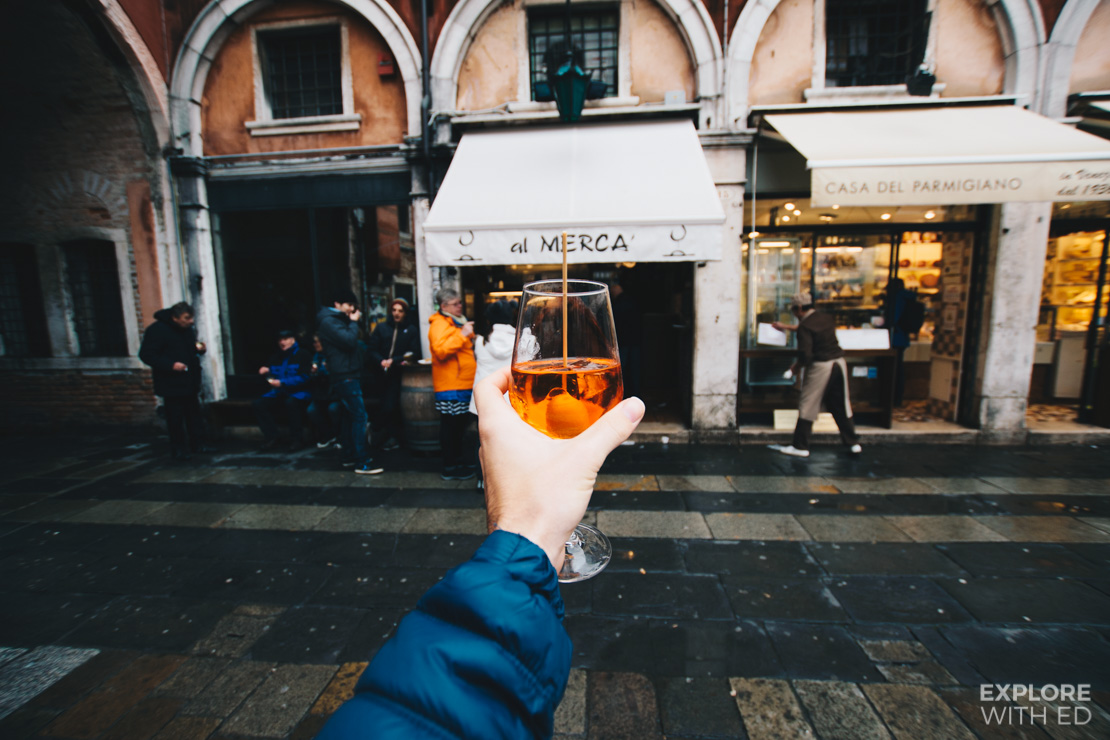al MERCA bar in Venice for Spritzers and Panini