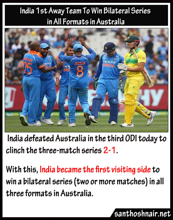 India First away team to win Bilateral series in all formats in Australia