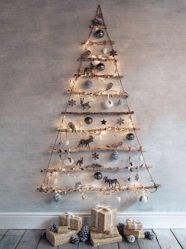 Árbol de Navidad DIY hecho con ramas
