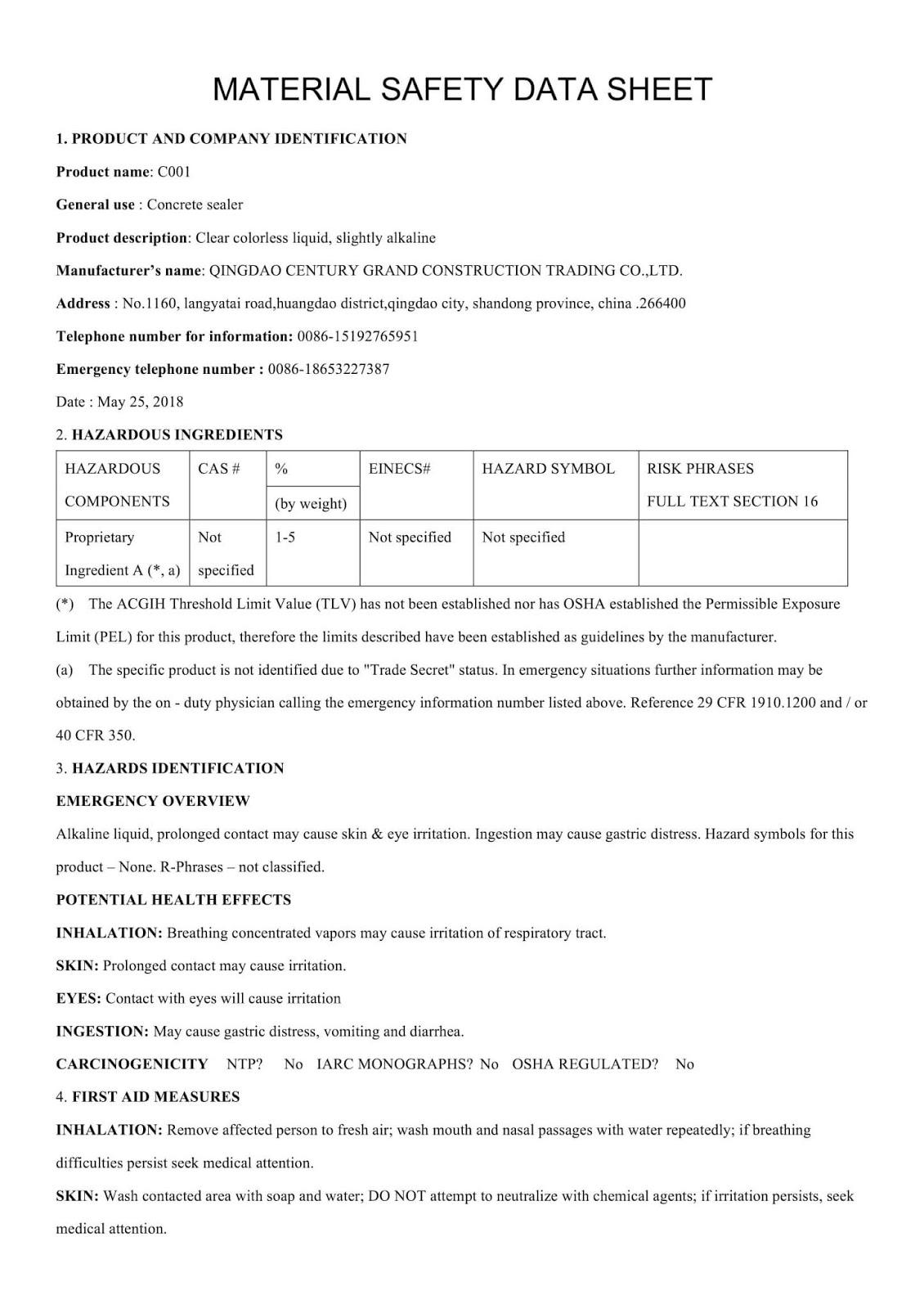 MSDS hoá chất tăng cứng bê tông DG C001 - Trang 1
