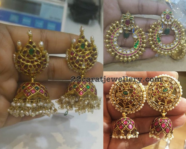 Unique Kundan Jhumkas with Small Pearls