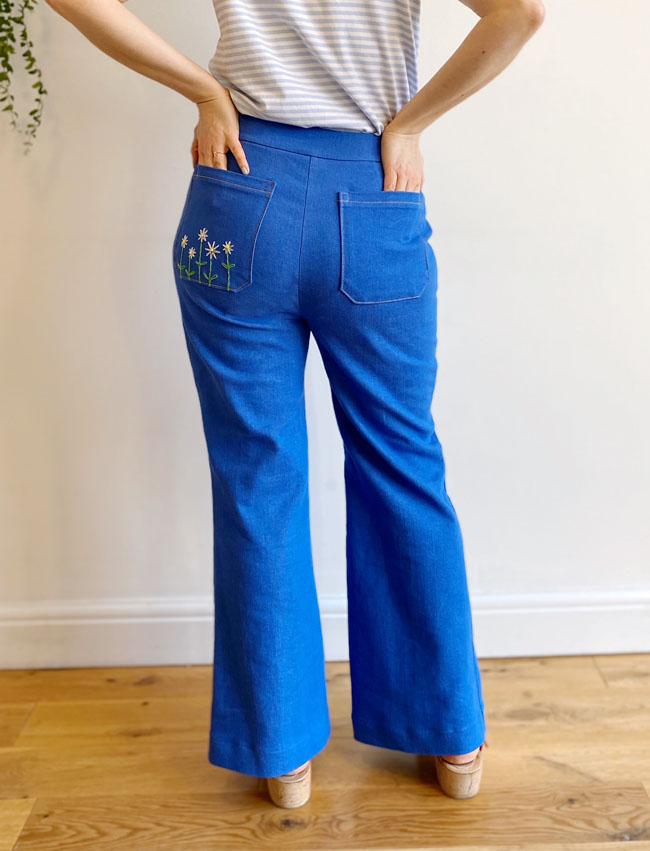 Tilly's Daisy Embroidered Jessa Jeans - Tilly and the Buttons