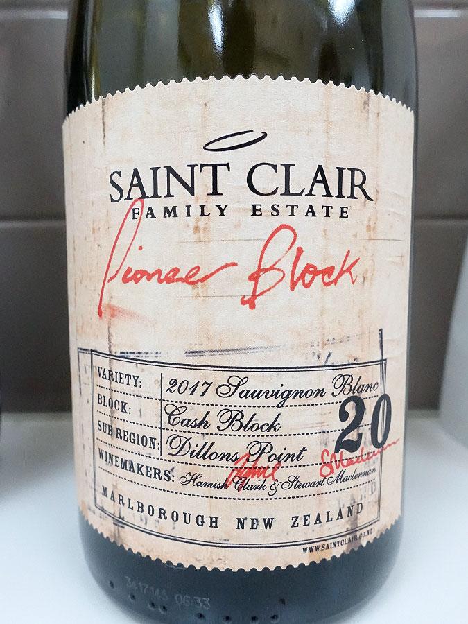 Saint Clair Pioneer Block 20 Cash Block Sauvignon Blanc 2017 (90 pts)