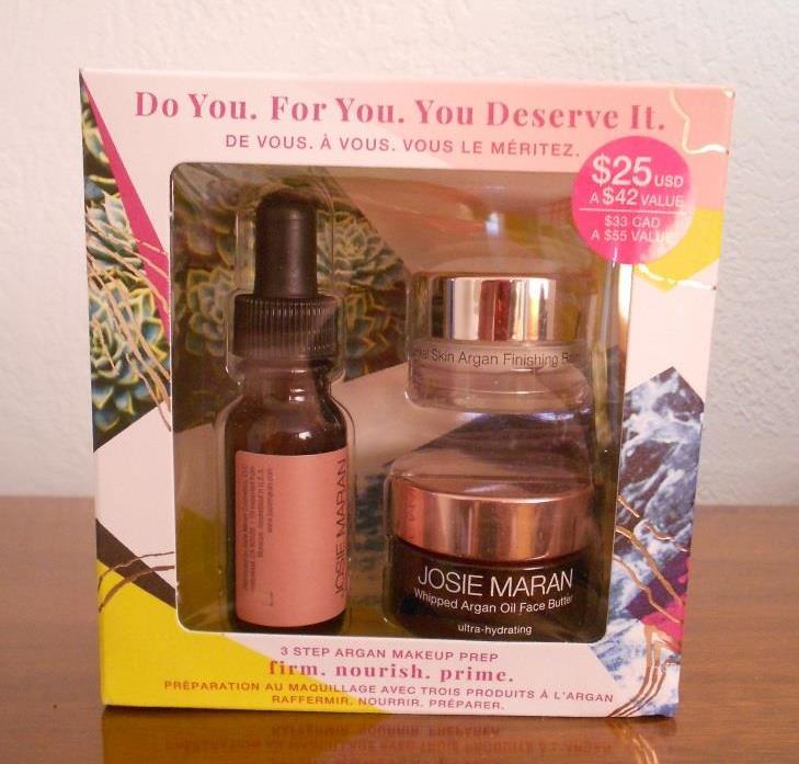 Josie Maran Cosmetics 3-Step Argan Makeup Prep Holiday Gift Set