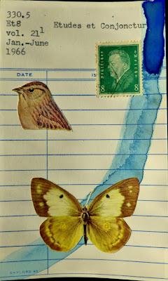 third reich german postage stamp library card sparrow bird butterfly Dada Fluxus mail art collage