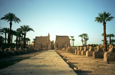 Avenida de las esfinges en el templo de Luxor