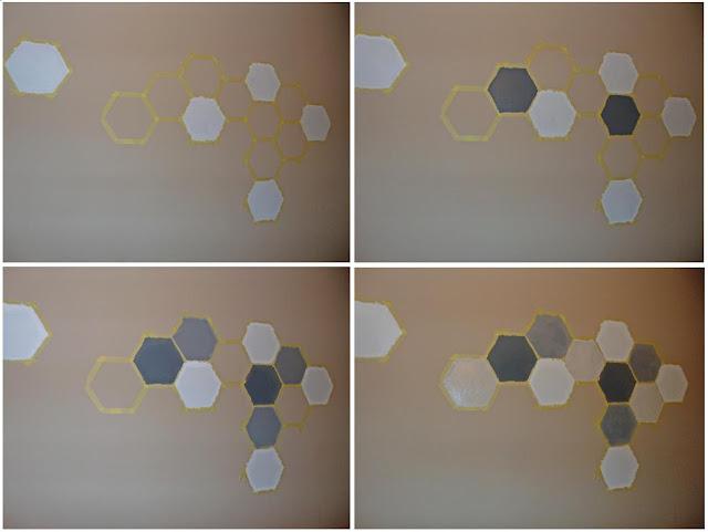 dekoracyjny wzór ścienny w postaci heksagonów