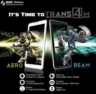 SKK Mobile Announces Trans4m Aero and Beam, 7-inch Quad Core Android Lollipop Tablets