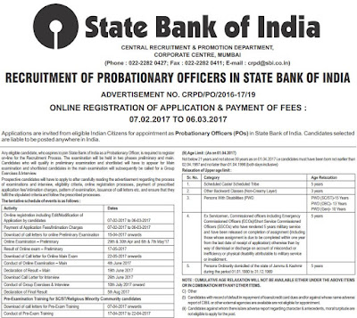 स्टेट बैंक ऑफ इंडिया State Bank Of India (SBI Recruitment 2017) www.sbi.co.in Apply Now