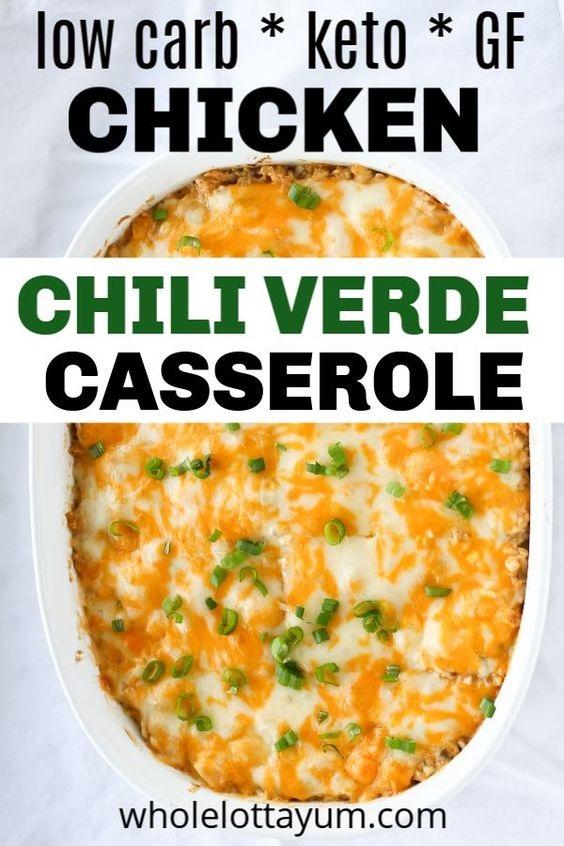 Chili Verde Keto Chicken Casserole
