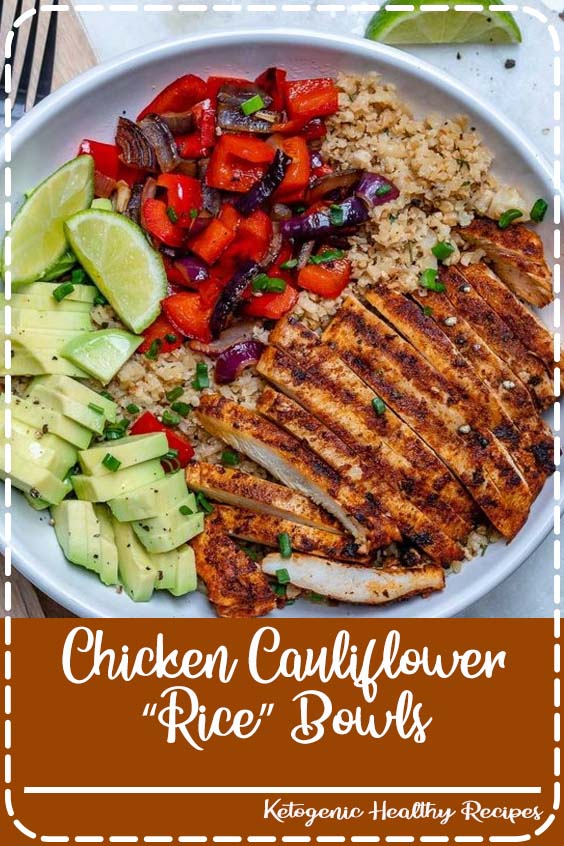"then put them in your fridge for meal prep this week Chicken and Cauliflower ""Rice"" Bowls"