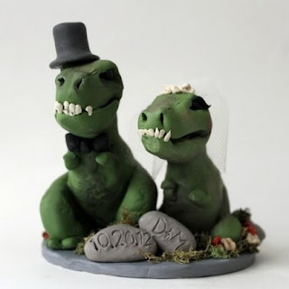 Bride and Groom Figurine themed Dinosaur Wedding Cake Topper
