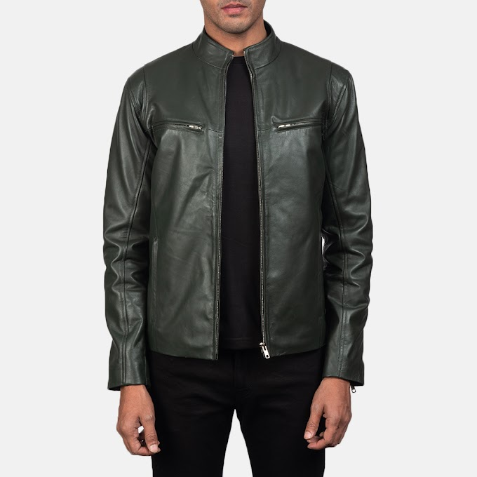 The Ionic Green Leather Biker Jacket