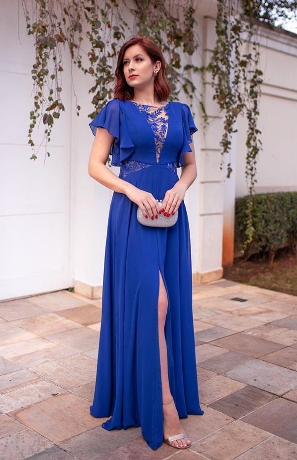 vestido longo azul bic fluido com manguinha para madrinha de casamento
