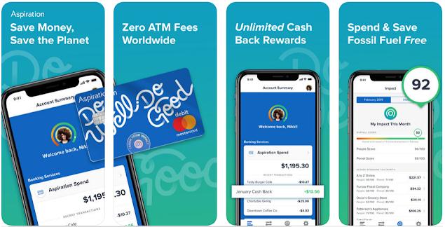 Aspiration app review bank Zelle cash back app