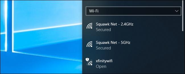 قائمة اتصال شبكة Wi-Fi في Windows 10