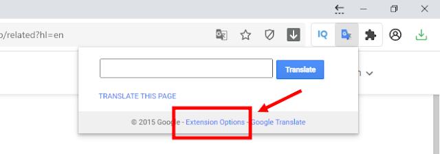 bấm vào extension options