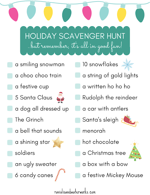 free Christmas scavenger hunt sheet for kids