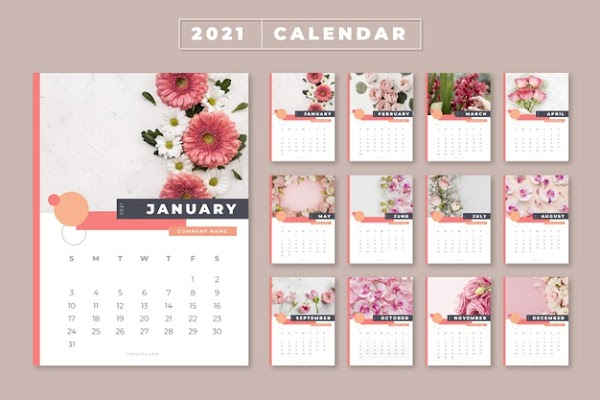 Calendario en vector 2021 de rosas