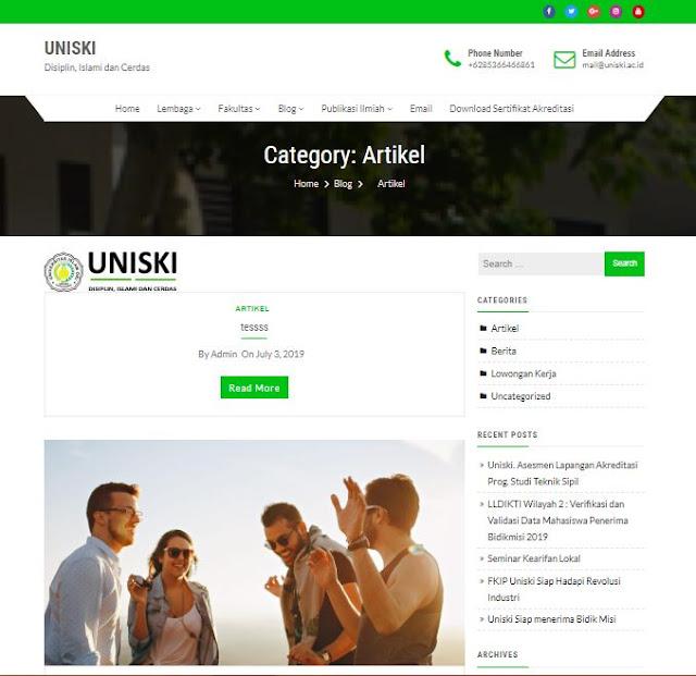 Website Univesitas Islam Ogan Komering Ilir atau UNISKI Kayuagung
