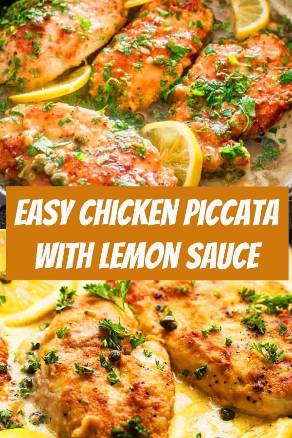 Chicken piccata with lemon sauce is exquisite and easy to prepare. Seasoned with parmesan and parsley, the chicken cooks up golden brown, then is drizzled with a light lemon sauce. The light and luscious lemon sauce really pops without being too acidic, it is simply divine. #chicken #parmesan #chickenrecipe