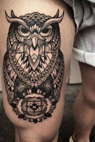 Owl Tattoo on Thigh for Men