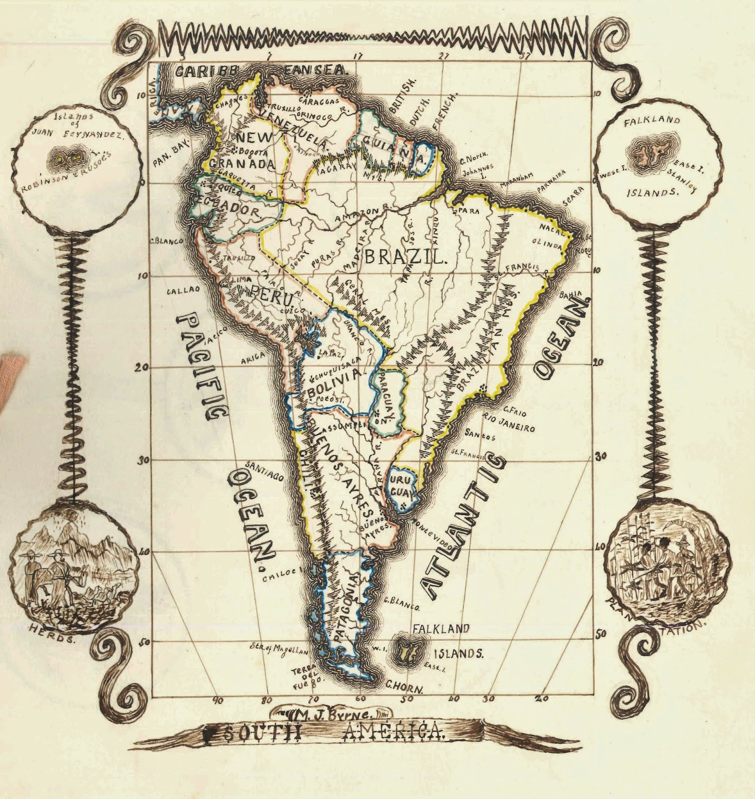 A hand-drawn map of South America.