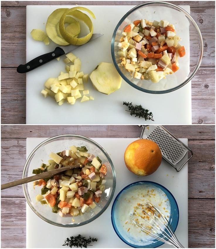 Ensalada de patata con manzana y pavo ahumado