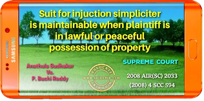 Suit for injuction simpliciter is maintainable when plaintiff is in lawful or peaceful possession of property