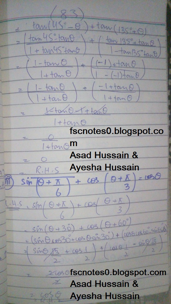 FSc ICS FA Notes Math Part 1 Chapter 10 Trigonometric Identities Exercise 10.2 Question 3 - 4 Written by Asad Hussain & Ayesha Hussain 2