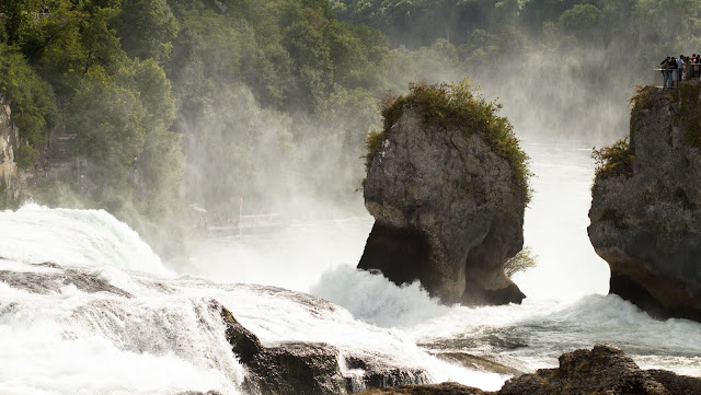 Rhine Falls with mist and rocks