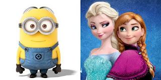 Gambar Frozen Minions Lucu Elsa dan Anna