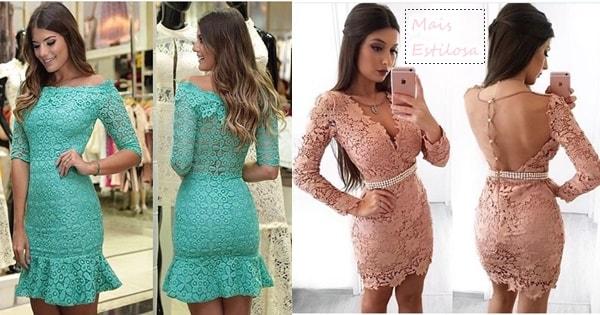 vestidos curtos de renda  fotos e modelos