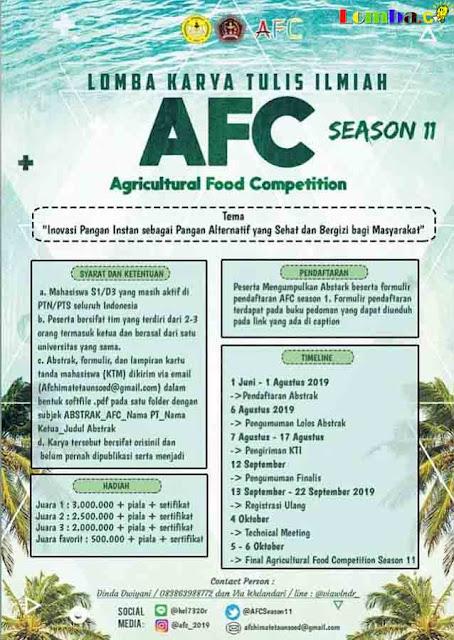 Lomba Karya Tulis Ilmiah Nasional Agricultural Food Competition 2019 Untuk Mahasiswa