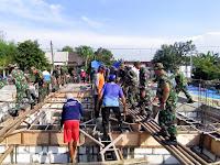 Bersama Masyarakat, Kodim Bojonegoro Cor Masjid Roudhotul Jannah Sumberoto Kepohbaru