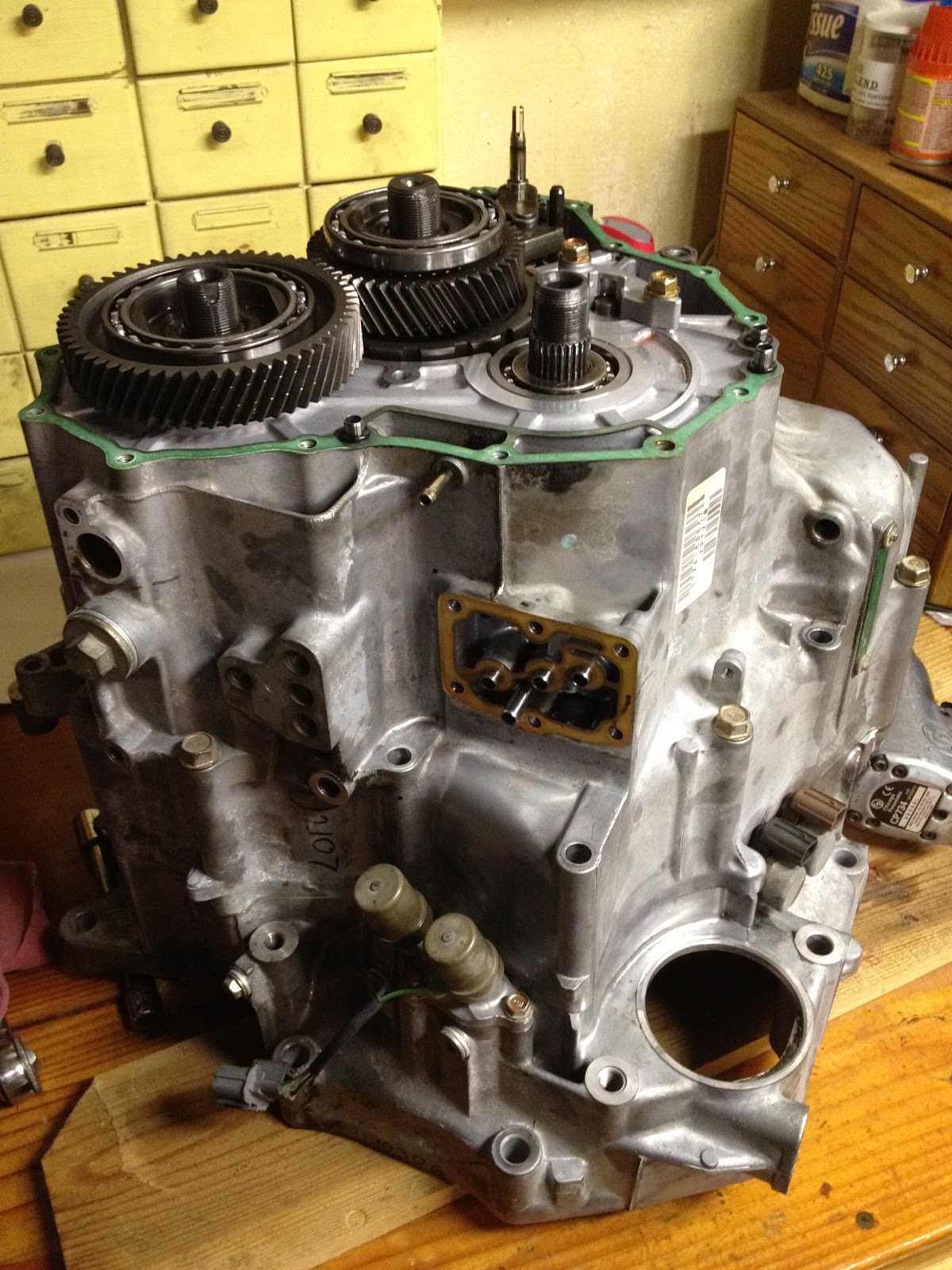 The transmission sitting on the work bench