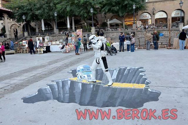 dibujo 3d en el suelo la Guerra de las Galaxias