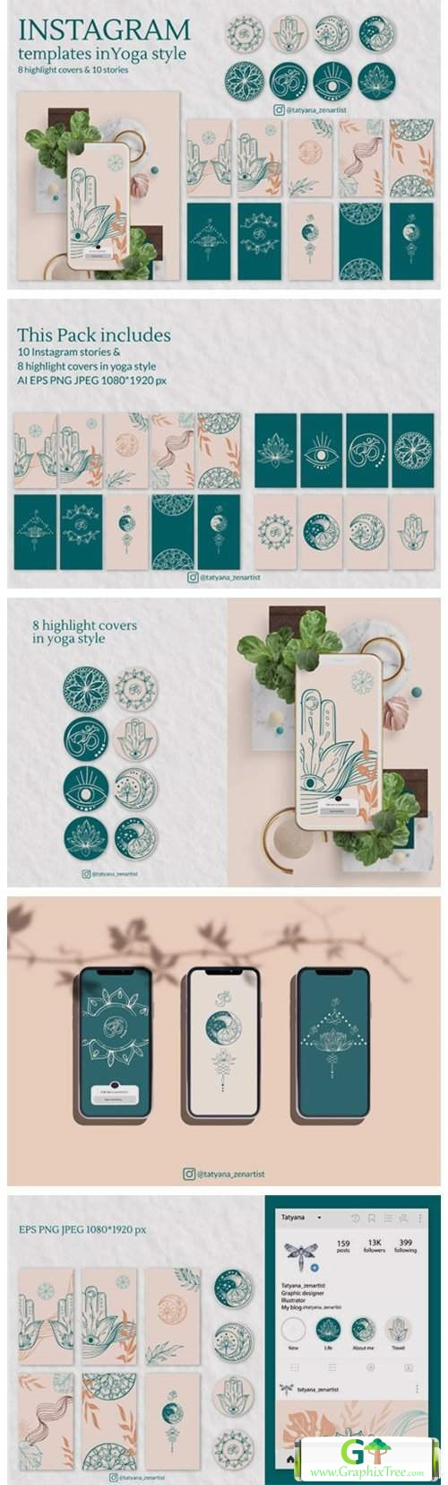 Instagram Template in Yoga Style Vers. 2 [Vector] [3D And Element Object & Web]