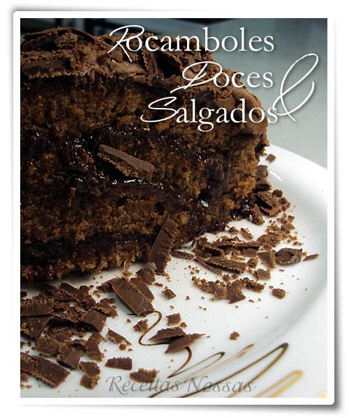Rocambole fácil de fazer com recheio de chocolate e massa de chocolate