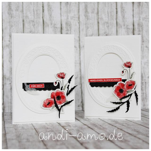 Karten selbermachen Mohnblüten Weiß Rot