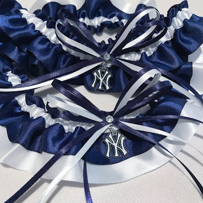 New York Yankees Wedding Garter Set by Sugarplum Garters