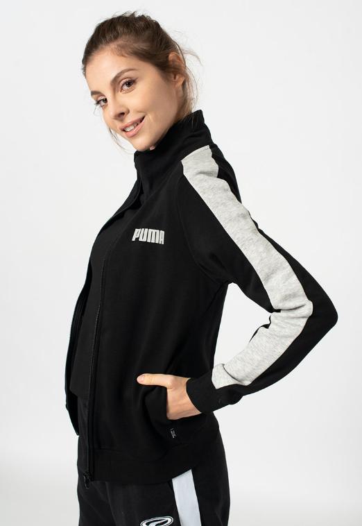 Puma Bluza sport dama neagra contrastanta cu fermoar