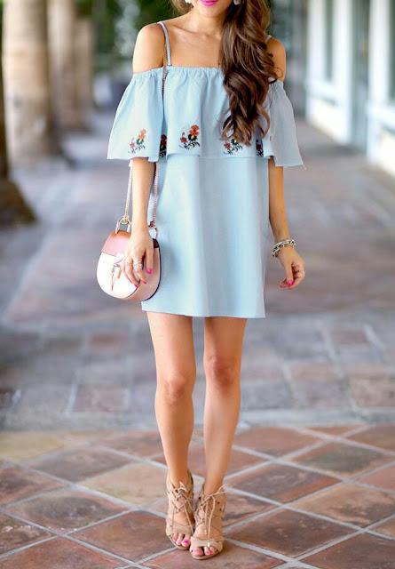 Off shoulder sky blue Dress