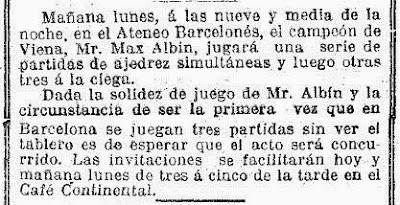Recorte de prensa en la Vanguardia sobre Max Adolf Albin, 28 de agosto de 1910