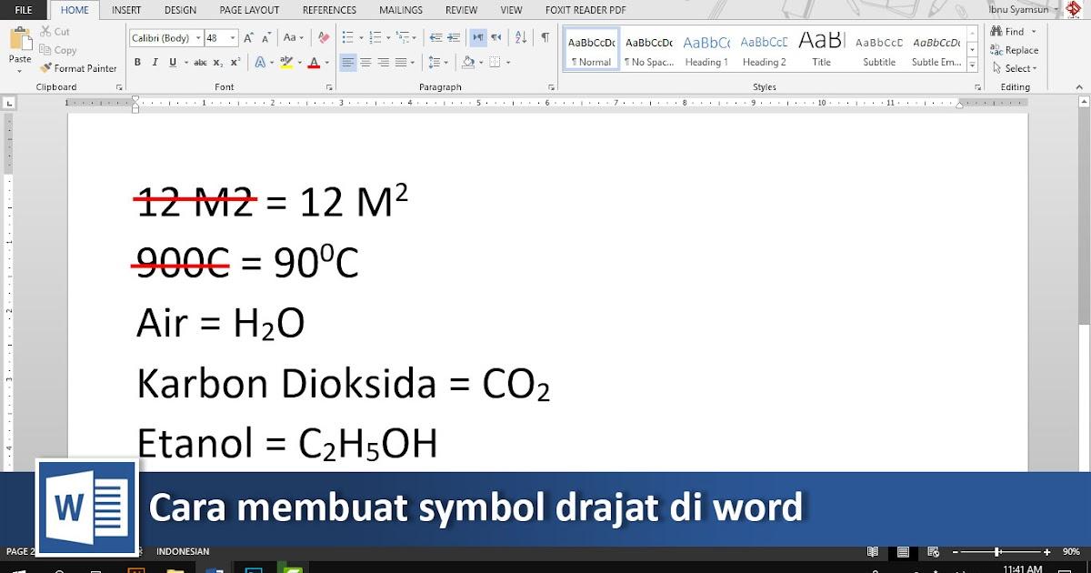 Cara Membuat Symbol Derajat Dan Rumus Kimia Di Word Video Tutorial89