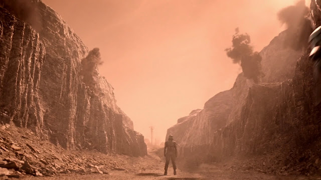Soldier in a canyon - Mars image from The Expanse