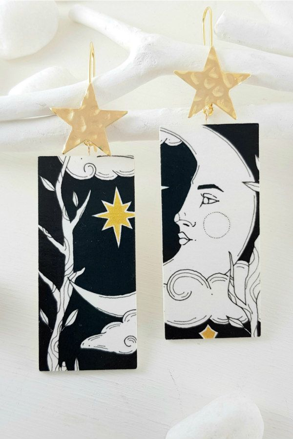Tarot card stars and moon design hand-painted paper earrings in black and white
