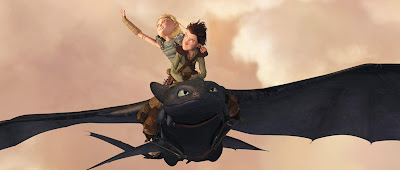 How to Train Your Dragon movie still Jay Baruchel America Ferrera Hiccup and Astrid flying on Toothless